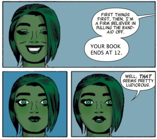 Can't take credit for this, I saw it on Twitter, but I thought it was pretty great - memed-up form of some panels from She-Hulk #1.